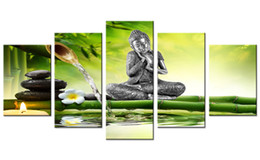 Wholesale framing stretched canvas - Amosi Art 5 Pieces Canvas Wall Art Buddha Statue Painting Print Orchid Bamboo Background Canvas Painting for Home Decor Stretched and Framed