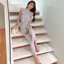 37bf2de1c72 Office lady style Korean version wide-leg jumpsuit 2018 summer new  temperament chiffon splice ruffled off shoulder pants women