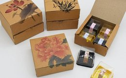 Wholesale Painting Cakes - Classic Chinese Ink And Wash Painting Style Mooncake Box Cake Biscuit Candy Package Kraft Paper Gift Box wen5040