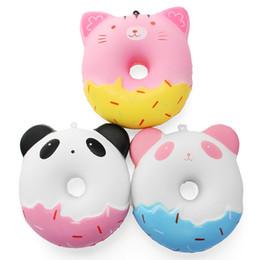 Llavero rosquilla blando online-Squishy 11 cm Regalo Kawaii Suave Panda Gato Donut Jumbo-Squishy juguete Correas de teléfono lindo Levantamiento lento Squishies Donut juguete llavero XB