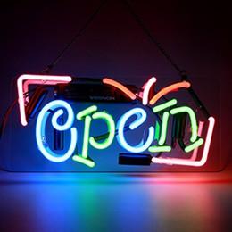 2019 sinais de luz busch Sinais de néon Abrir Loja Bar Sinal para Café Pub Negócios Loja Loja Escritório Restaurante Decoração do Hotel 9.8x5 Polegadas Multi-coloridas