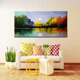 Wholesale Modern Oil Painting Trees - Hand-Painted Color Tree Abstract Landscape Modern Oil Painting On Canvas One Panel Ready To Hang