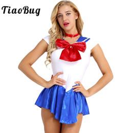 2019 bague sexy fille TiaoBug 2 Pcs Femmes Filles Cap Manches Color Block Bowknot Sailor École Fille Sailor Sexy Cosplay Costumes Robe avec Bague De Cou promotion bague sexy fille
