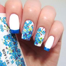 fiori blu romantici Sconti Adesivo per unghie decalcomanie con trasferimento dell'acqua per unghie Adesivo per unghie romantico fiore blu XF1408 # 16210