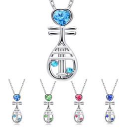2019 colgantes de diamantes chinos 2018 Chino Instrumento Musical de Cristal Corazón Pipa Collar Cadena de Plata de Cristal de Diamante Colgante de Joyería de Moda Regalo para Mujeres niños rebajas colgantes de diamantes chinos
