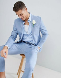 gray suit red tie Coupons - 2018 Light Blue Custom Made Men Suit 2pieces(Jacket+Pants+Tie) Terno Masculino Causal Wedding Prom Groom Custom Made Men Suits