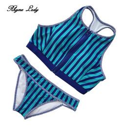 Wholesale Young Girls Swimwear - 2018 newest style Brazilian sexy young girls high neck bikini push up high waist low back beachwear round neck swimwear
