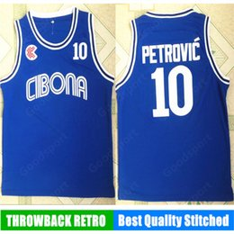 Wholesale european shirts - HOT 10 Cibona Petrovic Jersey Mens Basketball Jersey Vintage stitched Shirt Classic european blue Collection new HOT sale christams