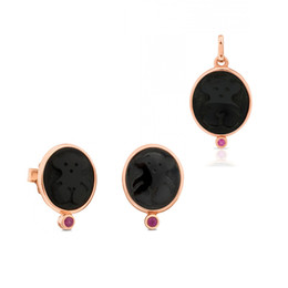 Wholesale Zircon Jewellery - Stainless Steel Black Agate small bear jewellery suit with logo elliptical Pendant Earring suit matching purple red zircon classic color