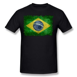 Wholesale Flag Football Shirts - 2017 Homme Cotton Vintage Flag Of Brazil With Football Tee-Shirts Homme Round Collar Yellow Short Sleeve Tee Shirt 4XL Casual Tee-Shirts
