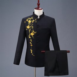 white collar blazer Desconto Bordado Túnica Chinesa Homens Ternos Collar Ternos de Casamento Slim Fit Masculino Terno Smoking Ternos de Noivo de Negócio de baile Branco 2 PCS