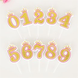 Wholesale Candle Baby - 2018 New non smokeless digital candles 0-9 baby birthday cakes crown gold powder digital birthday candles