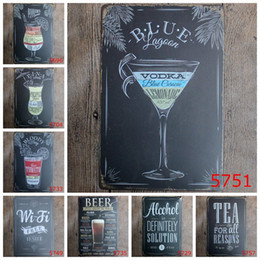 Wholesale Home Pubs - 100pcs Beer Pub tin sign Wall Decor Vintage Craft Art Iron Painting Tin Poster Cafe Shop Bar Club Home Decorate H396w