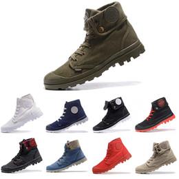 Zapatillas de deporte de tobillo para hombre online-Nuevo clásico PALLADIUM Pallabrouse Hombres High Army Military Ankle para hombre mujer botas de lona zapatillas de deporte zapatos antideslizantes del diseñador 36-45