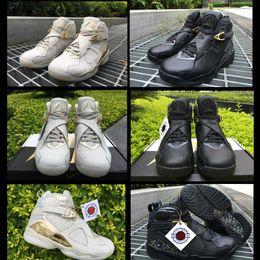 Wholesale White Confetti - 2018 Air Retro 8 C&C Champagne Men Basketball Shoes Geniune Leather Light Bone White Golden C&C Confetti Free Shipping With Box Size41-46