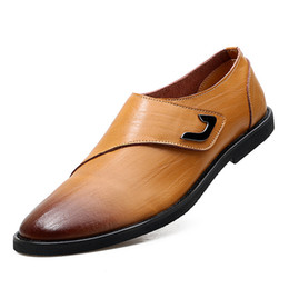 Wholesale light brown wedges - 2018 autumn explosion models British breathable leather shoes.Black, light brown, dark brown leather stitching, men's business casual shoes.