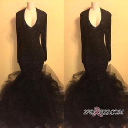 Wholesale Sparkled Top Dress - New Arrival Sexy V Neck Top Sequined Evening Dresses 2018 Sparkling Long Sleeves Tulle Puffy Mermaid Prom Dresses Party Wear BA8155