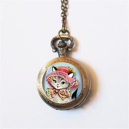 милые черные часы Скидка мода милый кот кварцевые карманные часы ожерелье женщины брелок часы черный круглый выпуклый объектив стекла