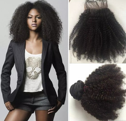 Wholesale Brazilian Lace Full Head Closure - Hot Selling Afro Kinky Curl Human Hair Virgin Brazilian Hair Bundles with Free lace closure for full head Free shipping