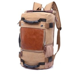 Wholesale Vintage Style Large Canvas Backpack - Stylish Travel Large Capacity Backpack Male Luggage Shoulder Bag Computer Backpacking Men Functional Versatile Bags