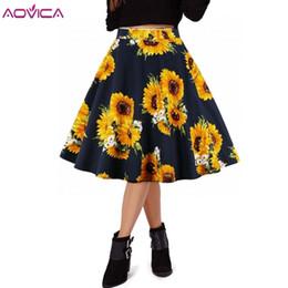 a32b36a71 2019 falda midi floral negra Aovica Summer Black Skirt Mujeres cintura alta  Plus Size Floral Print