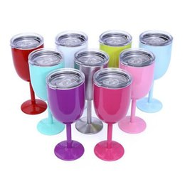 Wholesale Colored Glass Mugs - 10oz Vacuum Stainless Steel Wine Cup Cocktail Wine Glass Goblet Wine Cup Juice Drinks Mug With Lid Stainless Steel cup