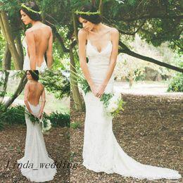 abiti da sposa backless in corsetto di pizzo Sconti