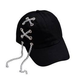 168922a8378 Black Chain Punk Style Baseball Cap 2018 Fashionable Unisex Men Women  Baseball Peaked Cap Adjustable Snapback Hip Hop Hats Caps