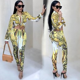 Wholesale Yellow Striped Tights - 2018 Fashion Women Casual Ladies Suits Slim Tight Printing Long Sleeve Lapel Sweatshirt +Pants Two-piece Suit