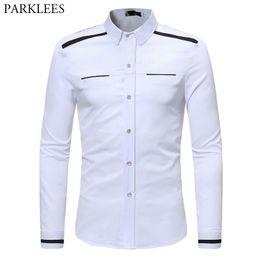 6d34d7cc446 Fake Pocket Fashion Shirt Men 2018 Spring Autumn New Slim Fit Long Sleeve  Mens Dress Shirts Casual Business Work Chemise Homme