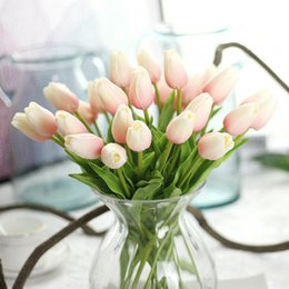 Wholesale Artificial Flowers Mini Bouquet - 12 colors Free shipping pu mini tulip flower real touch wedding flower bouquet artificial silk flowers for home party decoration