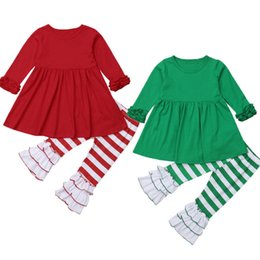 2018 Multitrust Brand Natale Toddler Neonate a righe in cotone Top Dress Pants Outfit Red Green Autumn Xmas Clothes da