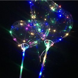 Wholesale love toy heart - Love LED Balloon Lighting Transparent Bobo Ball Love Heart Shaped Line String Balloon With Stick Wedding Birthday Party Decor CCA8852 100pcs