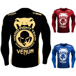 Wholesale Yellow Thermal Shirt - Men Snake Head Printing Compression Shirts Skin Tight Thermal under Long sleeve Jerseys Fight fitness Exercise Workout Sportswear
