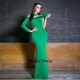 Vestidos de noite estilo abaya on-line-2018 Um Ombro Manga Longa Vestidos de Noite Verde Cetim Até O Chão Sereia Formal Vestidos de Noite Das Mulheres Moda Estilo abaya yousef aljasmi