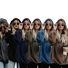 medias sudaderas con capucha Rebajas Mujeres diseñador sherpa sudaderas con capucha sudaderas medio cremallera camisas sueltas otoño invierno cálido abrigo de lana con capucha sudadera con capucha mujer ropa