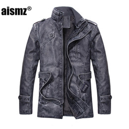 Wholesale Male Leather Wool Clothing - Wholesale- Aismz leather Jacket Men 2017 Winter Coats Jackets Thicken Warm 65% PU Casual Zipper Clothing Male Plus Size L-4XL Q7