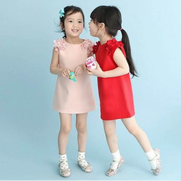 Wholesale Knee Length Ball Gowns - baby girls fashion summer dress kids cotton solid skirt with chiffon shoulder flower girls kids princess sweet dress