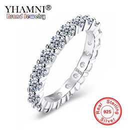 Wholesale perfect channel - YHAMNI 100% 925 Sterling Silver Wedding Ring Set Sparkling Perfect Round Cut Zircon Stone Rings For Women Jewelry YR028