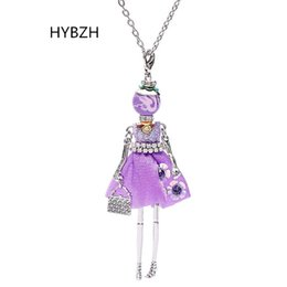 Wholesale Woman Fashion Doll Dresses - whole saleHYBZH Trendy PARIS Handmade Dance Doll Pendants Necklace Long Dress Rhinestone necklace Fashion Women Girl Kids charms