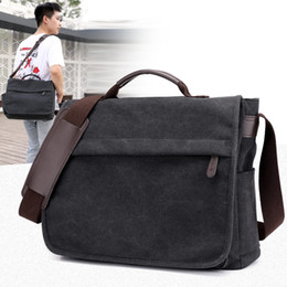 Top Quality Mens Large Capacity Laptop Handbag Casual Tote Canvas Shoulder  Bag laptop briefcase File package Travel Leisure bags 5d1d3027dc54f