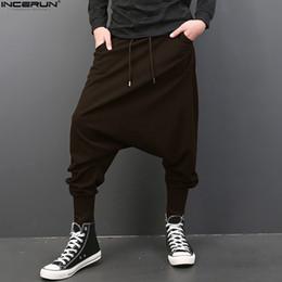 pantalone da ballo hip hop Sconti INCERUN Big Drop Cavallo Uomini Pantaloni Hip Hop Baggy Harem Uomo Pantaloni Vita Elastica Pantaloni Pantaloni sportivi Pantaloni da ballo 5XL Plus Size