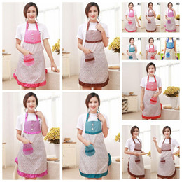 Wholesale Hanging Floral Wholesale - Floral Cooking Apron Restaurant Bib Apron With Pocket Cute Hanging Neck Strap Aprons 6 Colors OOA3833