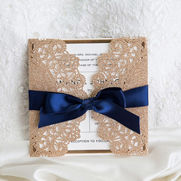 Wholesale Birthday Party House - Luxury Rose Gold and Navy Blue Ribbon Glitter Wedding Invitations Elegant Laser Cut Dinner Party Invites with Envelope