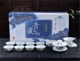 Wholesale Tea Trays Wholesale - white porcelain kung fu Tea Set drinkware: tea cup tureen infuser tea ceremony gaiwan and cup tray