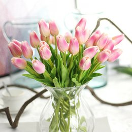 Wholesale White Real Touch Tulips - 31pcs lot Tulip Artificial Flower PU Bouquet Real Touch Flowers for Home Decor Accessories DIY Wedding Decoration Wreaths Decor