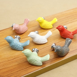 Wholesale Ceramic Drawer Pulls - 1pair Cartoon Pigeon Shaped Door Handle Colorful Kitchen Shoe Cabinet Knobs Cupboard Wardrobe Drawer Pulls Ceramic Metal J2Y