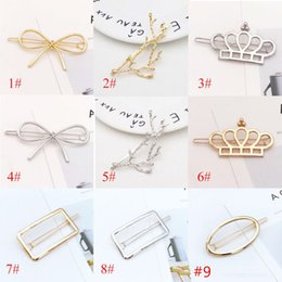 Wholesale Moon Clips - New Promotion Trendy Vintage Circle Lip Moon Triangle Hair Pin Clip Hairpin Pretty Womens Girls Metal Jewelry Accessories
