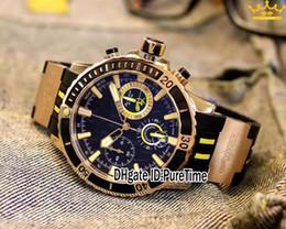 relógios de quartzo baratos Desconto Nova Maxi Marine Diver 1502-151LE-3-MARTELO Rose Gold Black Dial Quartz Chronograph Mens Relógio de Borracha Cronômetro Relógios Purtime U97B2 Barato