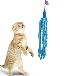 Wholesale Fish Poles - cat teaser with flexibale plastic pole stick blue fish ring ball interactive full funny for kitten pet supply
